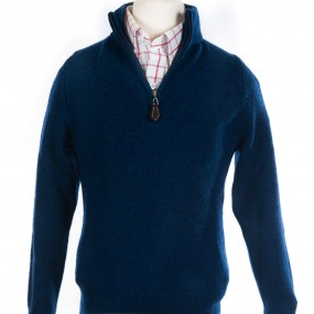 Alan Paine Indigo Lambswool Half Zip jumper