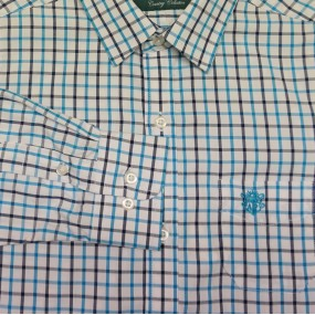 Alan Paine Aqua Check Shirt with Cufflink Holes