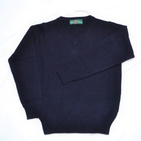 Alan Paine Navy Lambswool V Neck Jumper