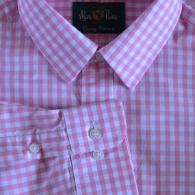 Alan Paine Pink Check Shirt with Cufflink Holes 17