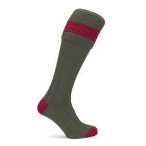 Pennine Olive Bryron Shooting Sock with Ruby Trim
