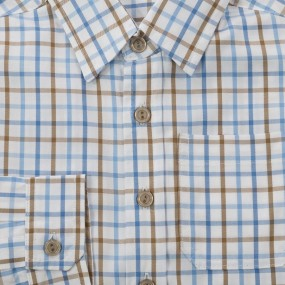 Ruth Lednik Tan and Blue Check Shirt