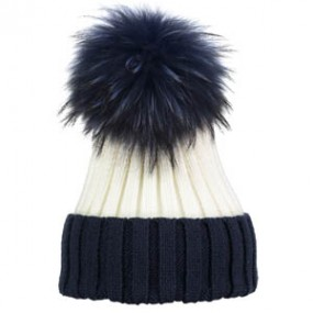 Bowtique Navy and Ecru Bobble Hat with Fur Pom Pom