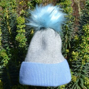 Bowtique Grey and Blue Angora Bobble Hat with Faux Pom Pom