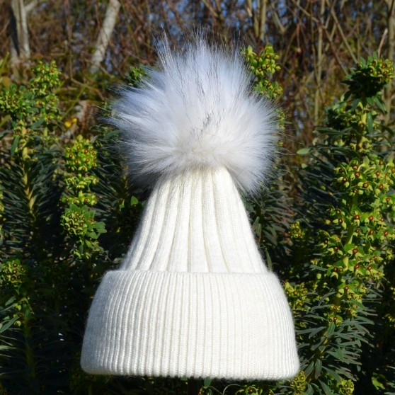 Bowtique Ivory Angora Bobble Hat with Faux Pom Pom
