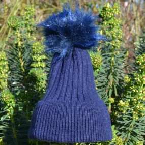 Bowtique Navy Angora Bobble Hat with Faux Pom Pom