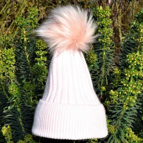 Bowtique Pale Pink Angora Bobble Hat with Faux Pom
