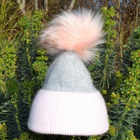 Bowtique Grey and Pink Angora Bobble Hat with Faux Pom Pom