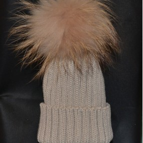 Bowtique Beige Bobble Hat with Fur Pom Pom