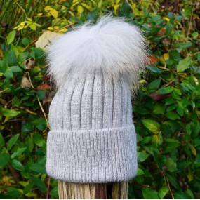 Bowtique Grey Angora Bobble Hat with Faux Pom Pom