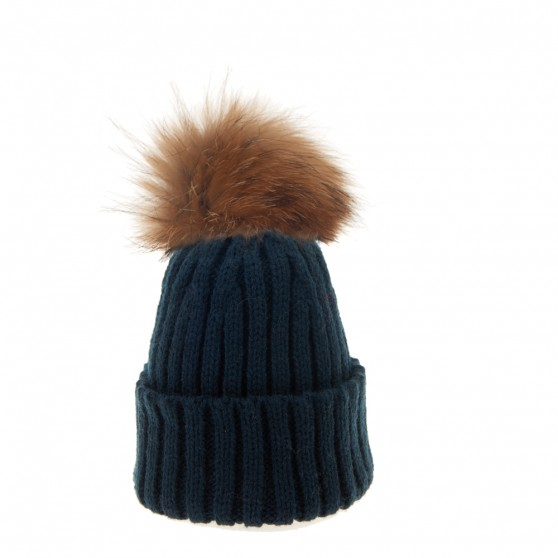 Bowtique Navy Bobble Hat with Natural Fur Pom Pom