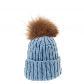 Bowtique Pale Blue Bobble Hat with Natural Fur Pom Pom