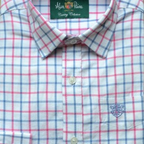 Alan Paine Pink and Blue Check Shirt with Cuff Link Holes