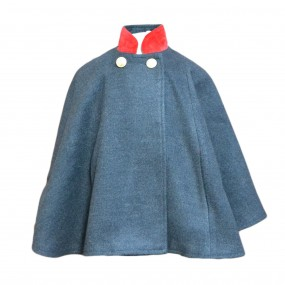 Entrelacitos Steel Grey Cape with Red Velvet Trim 2018 FROM