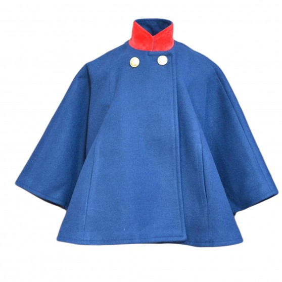 Entrelacitos Navy Cape with Red Velvet Trim FROM