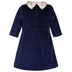 Hucklebones Navy Velvet Dress with Spotty Collar FROM
