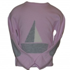 JAM Girls Pink Jumper with Grey Sail Boat