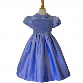 Kidiwi Blue Silk Smock Dress
