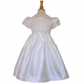 Kidiwi Ivory Silk Smock Dress