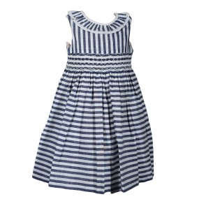 Kidiwi Blue and White Striped Dress