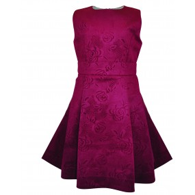 Little Lord & Lady Burgundy Embossed Floral Dress