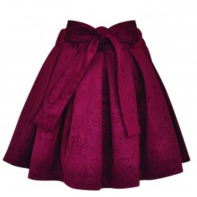 Little Lord & Lady Burgundy Embossed Floral Skirt