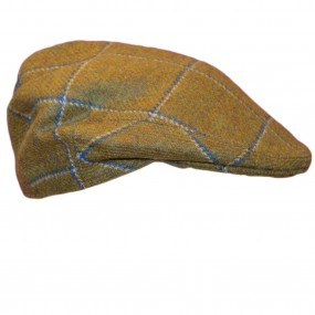 Children's Flat Cap With Blue Overcheck