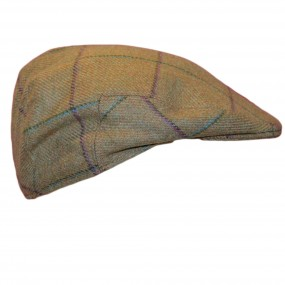 Children's Flat Cap with Purple and Turquoise Overcheck