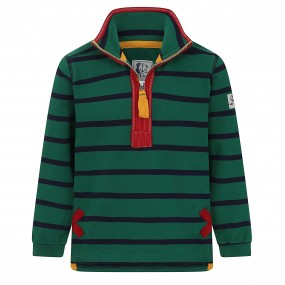 Lazy Jacks Quarter Zip Sweatshirt Green with Blue Stripe