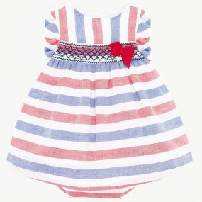 Mayoral Red & Blue Stripe Baby Dress 1879