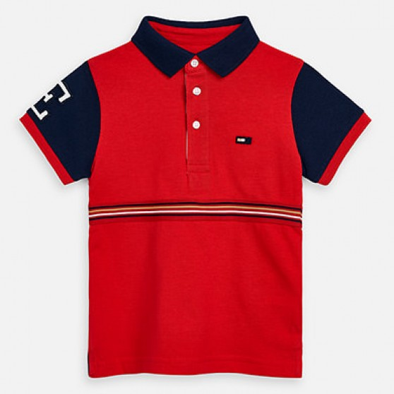 Mayoral Red Polo Shirt with Navy Sleeves 3153