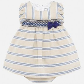 Mayoral Tan & Blue Stripe Baby Dress 1879