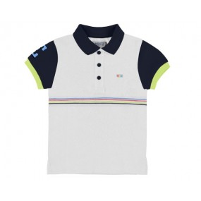 Mayoral White Polo Shirt with Navy Sleeves 3153