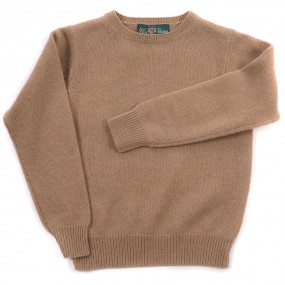 Alan Paine Camel Crew Neck Lambswool Jumper