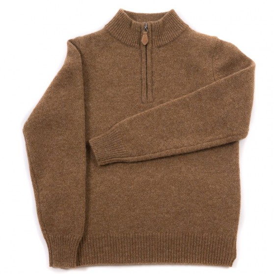 Alan Paine Driftwood Lambswool Half Zip Jumper