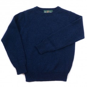Alan Paine Indigo Lambswool Crew Jumper
