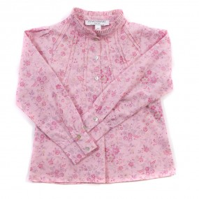 Startsmart Pink Floral Ruffle Neck Cotton Blouse
