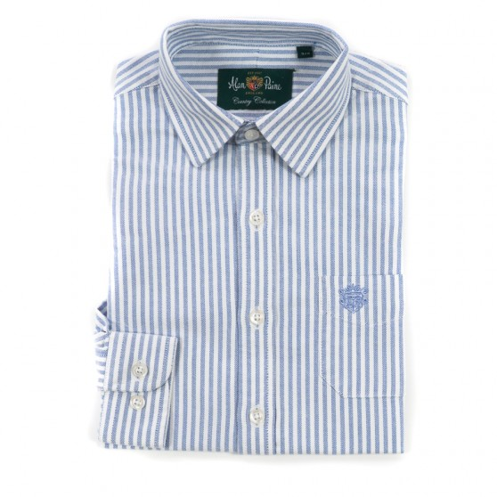 Alan Paine Pale Blue & White Stripe Oxford Shirt