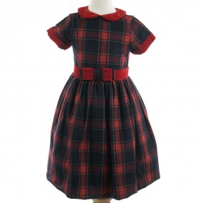 Patachou Red and Navy Tartan Dress AW19