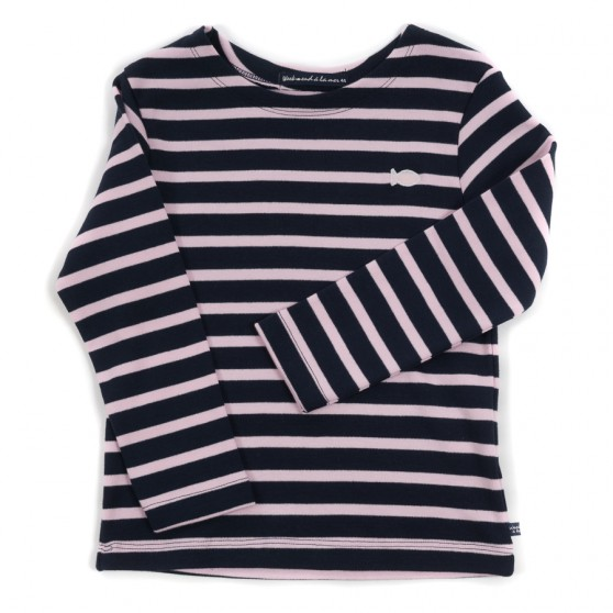 Weekend a La Mer Navy and Pale Pink Stripe L/S Tee Shirt