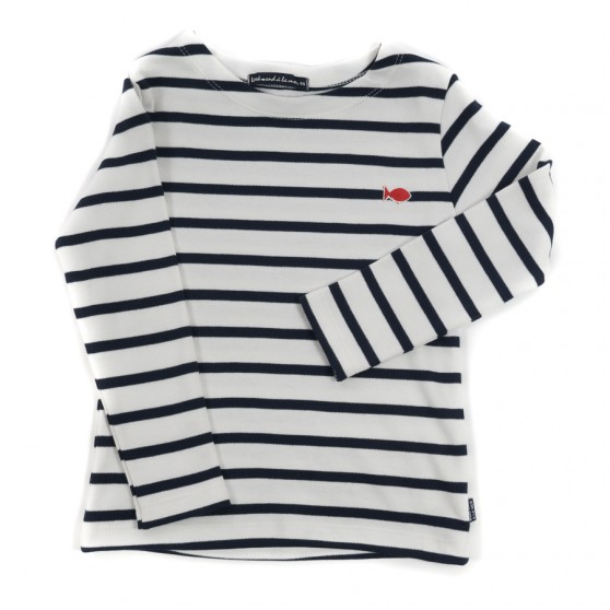 Weekend a La Mer Ecru and Navy Stripe L/S Tee Shirt