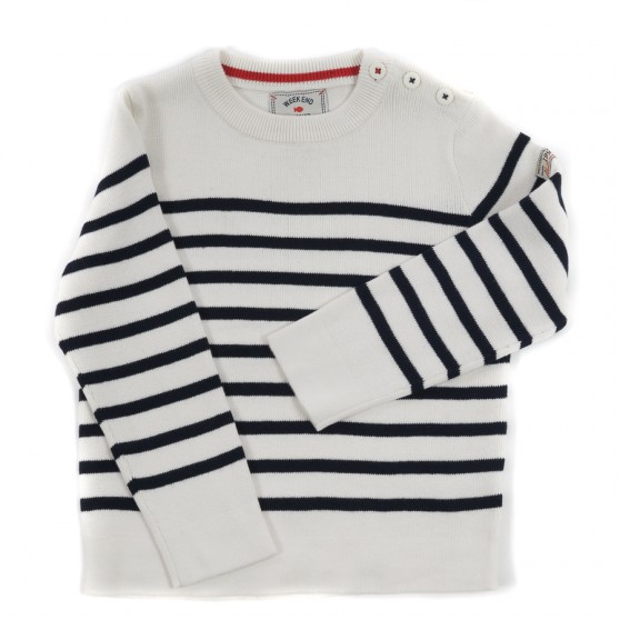 Weekend a La Mer Ecru & Navy Striped Jumper