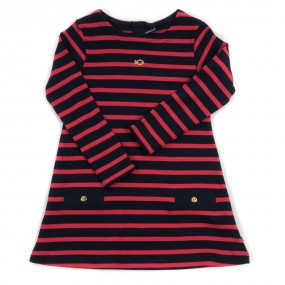 Weekend a La Mer Navy & Red Striped Cotton Dress
