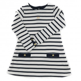 Weekend a La Mer Ecru & Navy Striped Cotton Dress