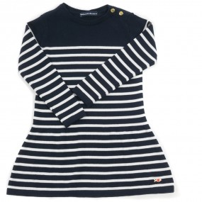 Weekend a La Mer Navy & Ecru Striped Knitted Dress