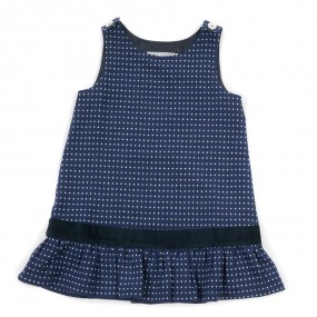 Startsmart Navy & White Spot A Line Pinafore