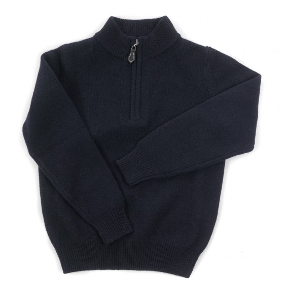 Alan Paine Navy Lambswool Half Zip Jumper