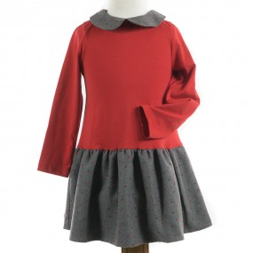 Startsmart Red and Grey Jersey Cotton Dress