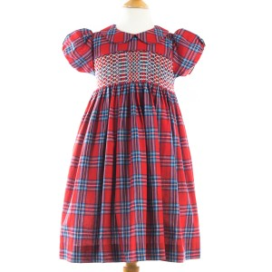 Question Everything Red Tartan Smock Dress