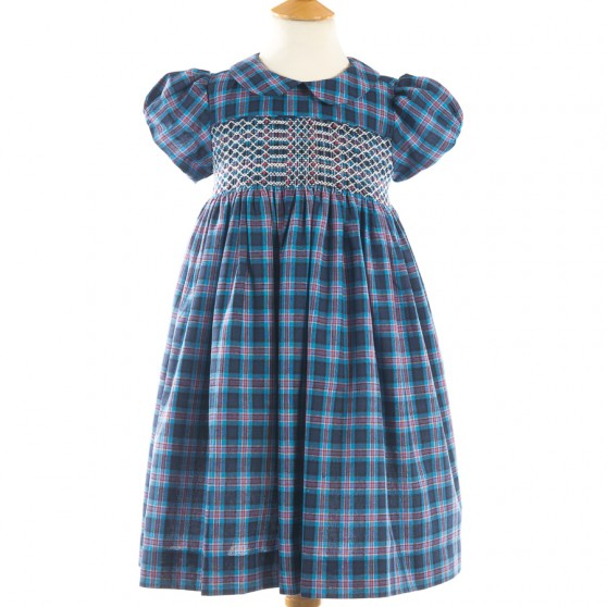 Question Everything Blue Tartan Smock Dress